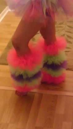 fluffy adult tutu leg warmers. Going to see if I can make these for Maddie for her Rainbow Dash Halloween costume.