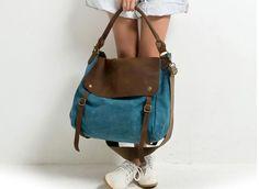 Tasche/Messenger bag aus Canvas, mit antikbraunen Echt Leder Elementen.