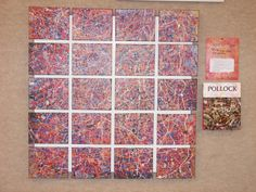 """3rd Grade Class Project. """"Does Splatter Matter"""" Ode To Jackson Pollock. This amazing 40"""" x 40"""" canvas collage was painted by the 3rd grade. Comprising of 20 canvases, ea. was painted by one of our students, this piece took 3 weeks of regular art classes to complete. Each canvas was numbered and then every student did a final """"splatter"""" over the entire collection to bring cohesiveness to the work. This is a piece of work that could stand on its own in any art show!"""