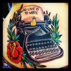 Risultati immagini per typewriter tattoo Line Tattoos, Tattoos For Guys, Sleeve Tattoos, Cool Tattoos, Awesome Tattoos, Tattoo Ink, Arm Tattoo, Typewriter Tattoo, Traditional Tattoo Flash