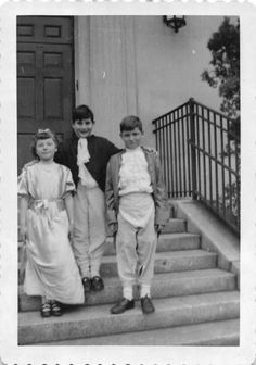 Photograph Snapshot Vintage Black and White: Boys Girl Steps Smile 1950's