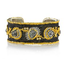 Victor Velyan ~  24K Gold, 14W and Silver Bracelet in Brown Patina with Diamond Rustic and White Diamond