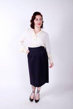 Vintage 50s Skirt Navy Blue Gabardine Early 1950s by stutterinmama, $38.00