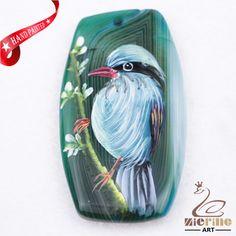 Hand Painted Bird Agate Slice Gemstone Necklace Pendant Jewlery D1707 0080 #ZL #Pendant