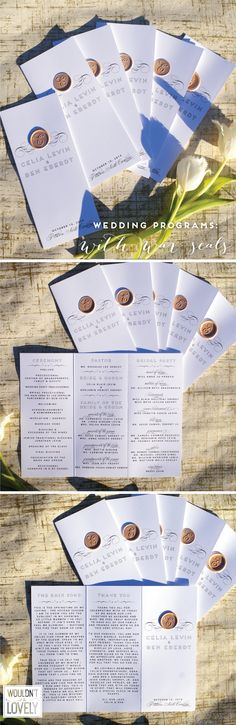 white black and gold wedding programs, trifold, wax seal, Wouldn't it be Lovely