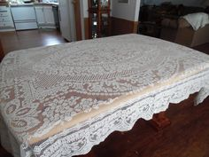Fine Crochet Lace Netting  Tablecloth Lace by BridenetVintageLinen