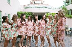 Pastel Floral Bridesmaids Robes Sets Perfect bridesmaids gift, getting ready robes, Bridal shower favors, Wedding photo prop, Kimono Robes