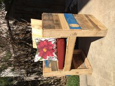 Patio chair (one of two) made out of old pallets. My husband built it. Thank you hubby.