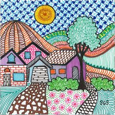 House Doodle 1 by Shelley Schindell. Like the square. Art Drawings For Kids, Doodle Drawings, Easy Drawings, Doodle Art, Art For Kids, Drawing For Kids, Line Art Projects, Classroom Art Projects, School Art Projects
