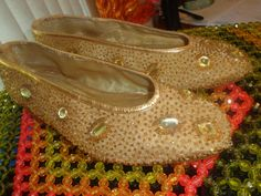 Caparros Gold Studded Evening Flat Shoes by SweetPeaVintageTwo
