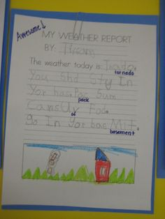 Kindergarten Smiles: Weather report - GREAT for end of unit assessment Weather Activities, Science Activities, Science Fun, Science Ideas, Physical Science, Earth Science, Science Experiments, Weather Unit, Weather And Climate