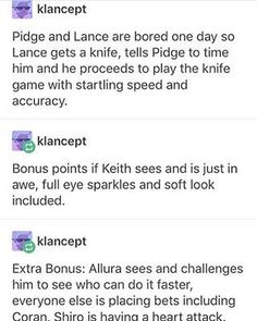 2 of the things Keith loves most, Lance and Knives
