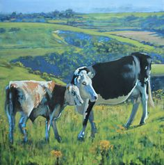 Cow and calf, Devil's Dyke Oil Painting On Canvas, Devil, Cow, Paintings, Artist, Animals, Animaux, Painting Art, Animales