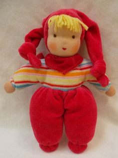 Waldorf Doll  Handmade  Red  Soft for Baby Easter gift Promo Price via Etsy
