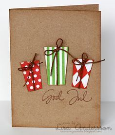 Easy Christmas card with paper presents.