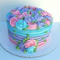 New Cake Frosting Designs Food Coloring 37 Ideas Cake Frosting Designs, Cupcake Cake Designs, Cake Icing, Cupcake Cakes, Buttercream Frosting, Buttercream Cake Designs, Buttercream Cake Decorating, Frosting Tips, Cupcake Frosting