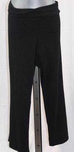 e224096c412d6 AVA VIV Black PLUS SIZE Yoga Fold Down Waist Pants