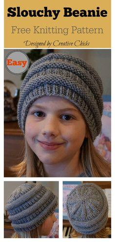 beef5b58ac7 Easy Slouchy Beanie Hat Free Knitting Pattern