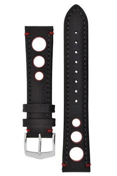 Hirsch RALLY Natural Leather Racing Watch Strap in BLACK/RED – WatchObsession With its fashionable vintage look and the perforated design inspired by racing gloves, Rally is an unmistakable token of reverence to the legendary image of motor sports.