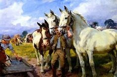 WATERING THE HORSES WORKING HORSE BRITISH PAINTING BY LUCY KEMP ...