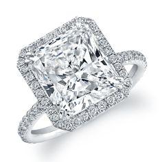 Rahaminov Emerald Cut with Halo Diamond Ring