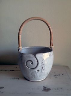 Hey, I found this really awesome Etsy listing at https://www.etsy.com/listing/207385064/winter-white-yarn-bowl-with-handle