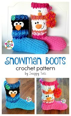 Pattern: SNOWman Boots ~ SnApPy ToTs