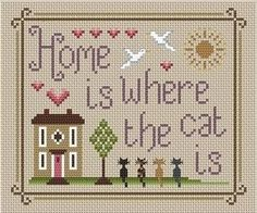 """Little Dove Designs - Home Is Where The Cat Is sampler cross stitch kitFinished size on 16ct - 6"""" x 5"""" and on 14ct        - 6.75"""" x 5.75"""" Your kit contains: a colour picture of the finished design, dark ecru aida fabric, pre-sorted DMC threads, gold plated needle, chart and instructions. A brand new kit or chart will be sent directly to you by Little Dove Designs usually within 2-4 working days, often sooner. © Little Dove Designs"""