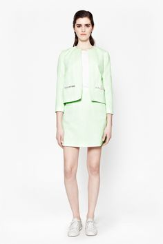 4a4729f2712 French Connection Women s Collarless Mint Green Jacket