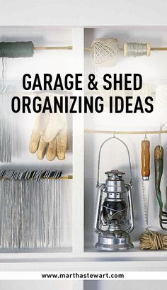 Garage & Shed Organizing Ideas | Martha Stewart Living - The garage and shed are seldom given as much organizational thought as their indoor counterparts. They are also prime spaces to dump items for future sorting. Here's how to keep these areas helpful and streamlined through the seasons.