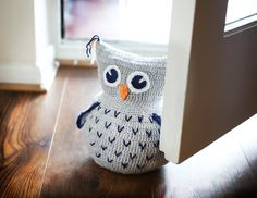 Owl hand knitted doorstop by handmadeBYmamas, Etsy.    This would be great in the downstairs bathroom, so we can stop using a shower head still in it's package as a door stop...