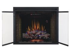 """ClassicFlame 39EB500GRS 39"""" Traditional Built-in Electric Fireplace Insert with Glass Door and Mesh Screen, Dual Voltage Option"""