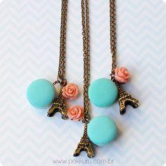 colar april in paris - #macaron #paris #necklace #charm #sweet #acessories #cute #miniature #polymer #clay #aqua #tiffany #blue #flower #rose #coral #cabochon