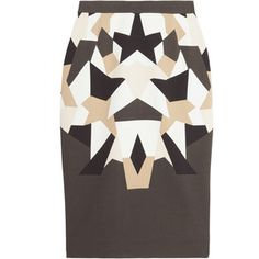 Givenchy Patchwork print stretch cady Tubino skirt