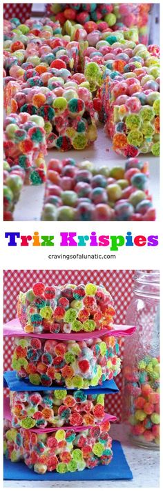 Trix Krispies from cravingsofalunati- Super easy to make cereal treats made with Trix Cereal. Your family and friends will love these. Simple quick and incredibly tasty. Not to mention they are just seriously eye catching! Easy No Bake Desserts, Fun Desserts, Delicious Desserts, Dessert Recipes, Cereal Recipes, Bar Recipes, Dessert Bars, Trix Cereal, Cereal Treats