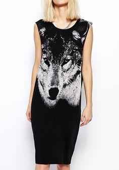 Black Wolf Print Sleeveless Wrap Knit Midi Dress