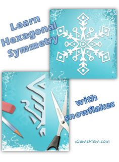 Learn hexagonal symmetry and practice cutting skills with snowflakes - with Free app, free instruction printouts, and teaching ideas, great for scissor practice too. Winter Activities For Kids, Science Activities For Kids, Learning Activities, Teaching Ideas, Winter Art Projects, Learning Apps, Fun Math, Math Art, Science Fair