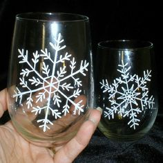 Hand Painted Snowflake Stemless Wine Glasses. Winter, Christmas by The PaintedMann, via Flickr