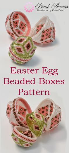 An Easter beading project with a difference! This easy-to-follow pattern makes three beaded Easter eggs. They are all beaded boxes that nest inside one another. This is a peyote stitch pattern that uses size 11 delica seed beads. Suitable for intermediate and beyond. So, grab your copy of the pattern here and make a stunning beaded box set now.