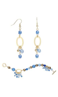 Bracelet and Earring Set with Czech Glass Beads and Celestial Crystal® Beads