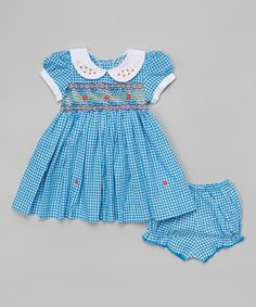Another great find on #zulily! Aqua Gingham Dress & Bloomers - Infant & Toddler #zulilyfinds
