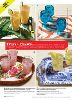 The prettiest melamine trays and glasses-perfectly unbreakable for summer poolside parties.