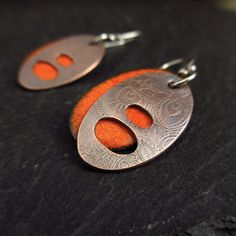 Cinnamon Jewellery - etched and enameled earrings