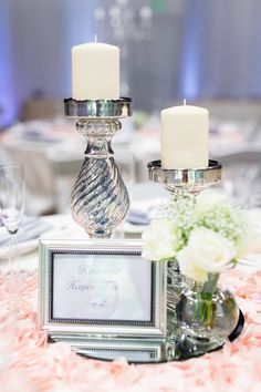 Reception Dinner Table Decor Silver White Candles Pink Roses | The-Palms-Chico-California-Wedding-Photographer