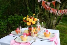 Cupcakes, candy & soda pops!!!   Hostess with the Mostess® - Pretty Summer Tablescape