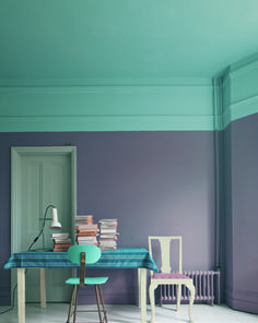 How To Make Purple Work - combine with a soft duck egg blue/green. Extend the latter colour to your shutters for a design-savvy effect.
