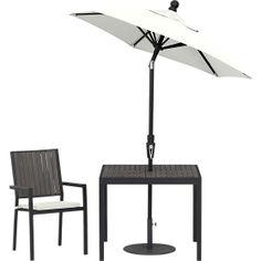 Alfresco Grey Dining Chair with Sunbrella® White Sand Cushion in Alfresco Grey | Crate and Barrel