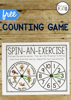 Exercise Counting Game Activity for ages 3 to Counting from 1 to 10 is an important skill for young learners. Make it fun for kids to practice with this playful exercise counting game. Spin-an-Exercise is the perfect activity to do with your child at h Exercise Activities, Gross Motor Activities, Exercise For Kids, Kid Exercise Games, Kindergarten Math, Preschool Activities, Dementia Activities, Space Activities, Music Activities
