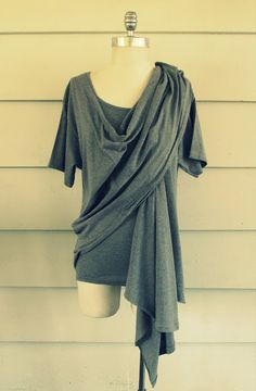 WobiSobi: Draped Shirt Vest, DIY - could make into a nursing top by cutting holes in the bottom layer Cut Shirts, Shirts & Tops, Diy Clothing, Sewing Clothes, T Shirt Diy, Shirt Vest, Diy Vetement, Do It Yourself Fashion, Refashion