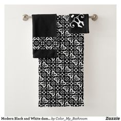 f5d08de70f Modern Black and White damask bathroom Bath Towel Set Damask Bathroom,  Bathroom Bath, White
